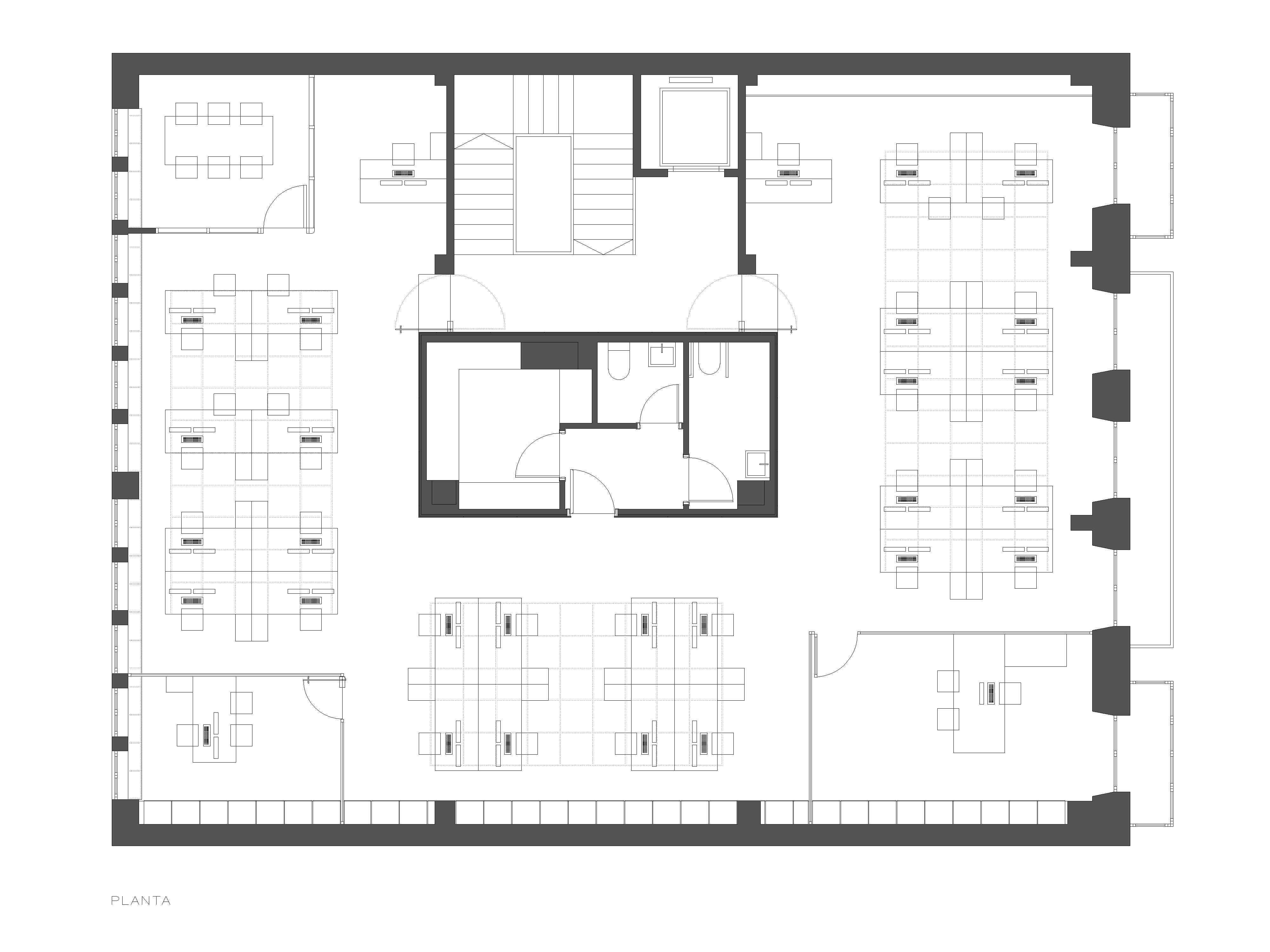 Planta oficina uria tagarro de miguel arquitectos for Plantas para oficina